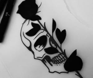 black, drawing, and rose image