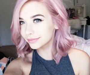 beautiful, girl, and pink hair image