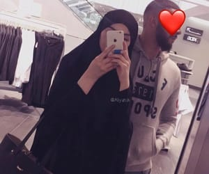 adorable, couple, and hijab image