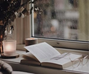 book, candles, and rain image