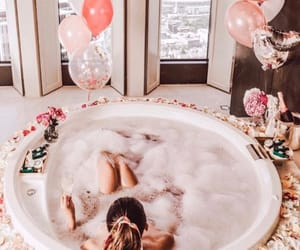 bath, girl, and balloons image