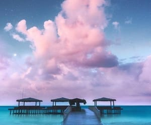 sky, beach, and clouds image