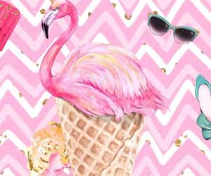 background, flamingo, and ice cream image