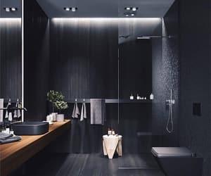 bathroom, black, and decoration image