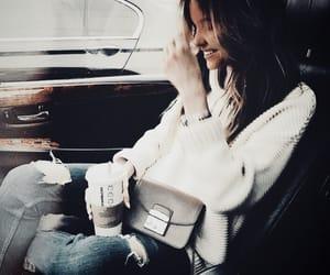 car, coffee, and girl image