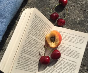 book, cherry, and fruit image