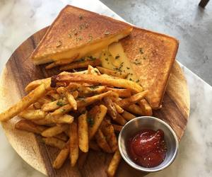 food, fries, and sandwich image