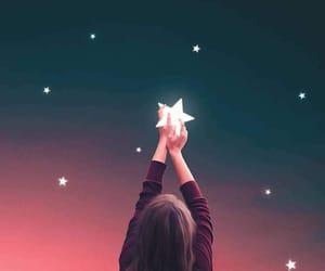 stars, girl, and sky image