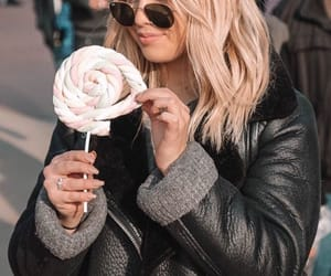 black coat, candy, and fashion image