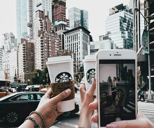 starbucks, city, and coffee image