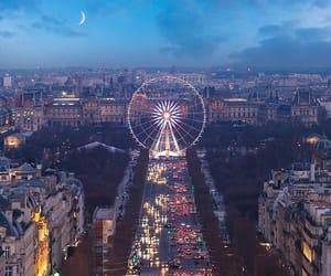 ferris wheel, france, and moon image