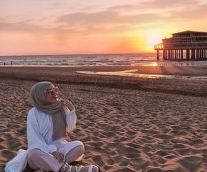 beach, fashion, and hijab image