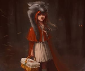 red, wolf, and art image