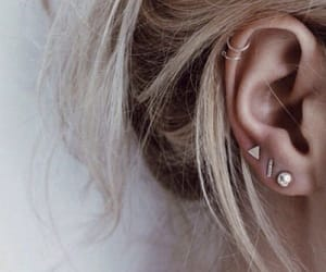 piercing, earrings, and hair image
