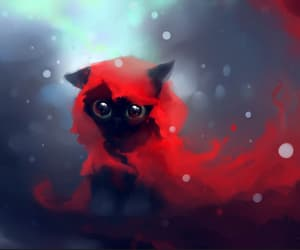 cat, red, and black image