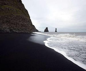beach, black, and sea image