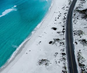beach, road, and ocean image