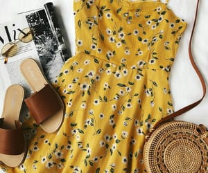 dress, yellow, and sandals image