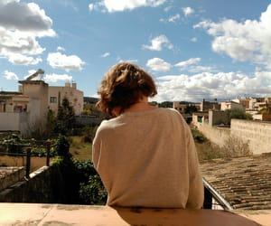 beige, girl, and clouds image