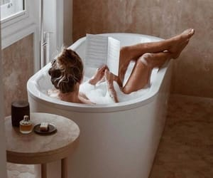 girl, relax, and bath image