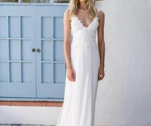 wedding dress, bridal dress, and beach wedding dress image
