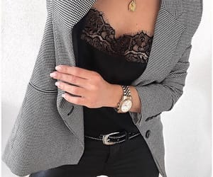 black lace, clothes, and outfit image