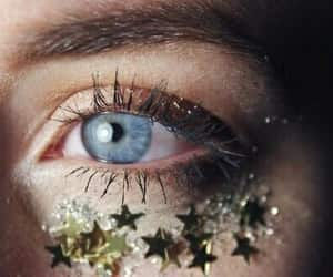 eye, stars, and blue image