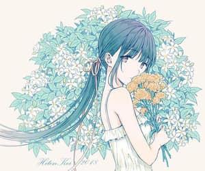 anime girl, anime, and flowers image