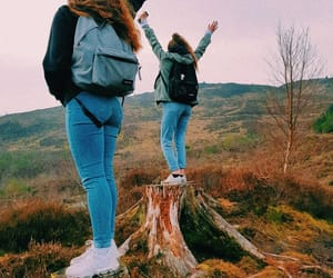 girls, happy, and hike image