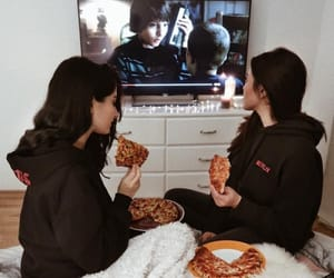 best friends, friendship goals, and pizza image