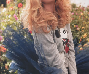 blonde, sweater, and flowers image
