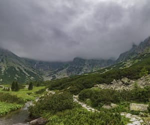 clouds, landscape, and mountains image