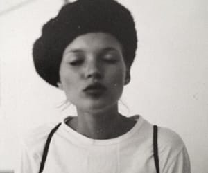 model, kate moss, and b&w image