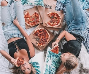 pizza, friends, and fashion image