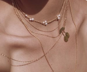 necklace, gold, and cherry image