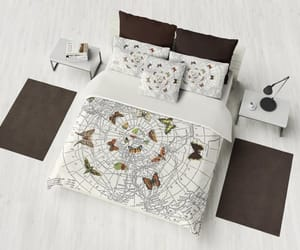 bedroom decor, antique map, and dorm decor image