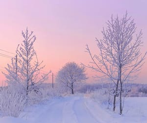 snow, pastel, and sunset image