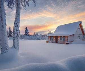 house, snow, and sunset image