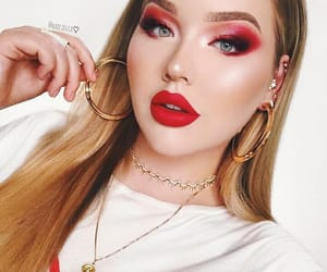 makeup, red, and white image