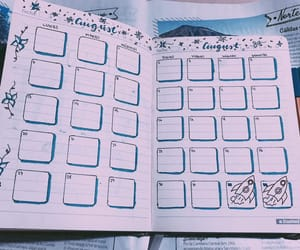 August, calendar, and bullet journal image