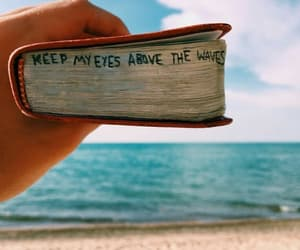 book, waves, and beach image