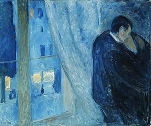 art, kiss, and blue image