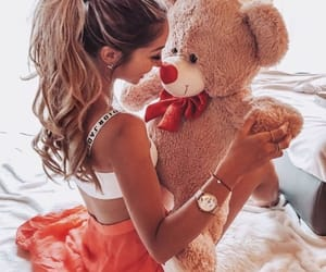 fashion, girls, and teddy bear image