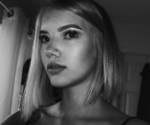 b&w, black and white, and blonde image