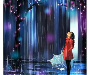 alone, rain, and art image