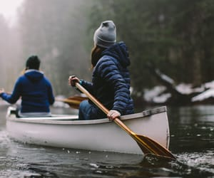 autumn, couple, and rowing image