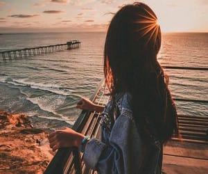 girl, beach, and sunset image