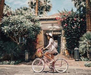 bicycle, girl, and nature image