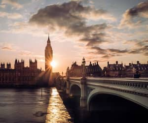 sunset, london, and sky image