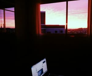 bedroom, pink, and sky image